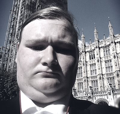 Student Richard Duffy outside House of Lords